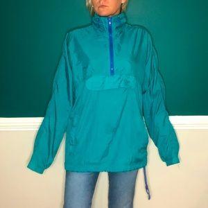 Vintage 90's pull over windbreaker jacket teal